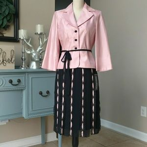Jessica Howard Pink/Black Suit, Ribbon Skirt - NWT